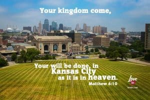 Photo of Kansas City with Bible verse used on social media.