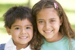Two smiling children.