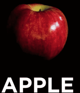 "Picture of a red apple with the text ""APPLE"" underneath."