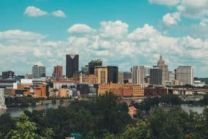 St Paul skyline with blue sky and clouds