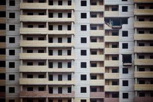 Cramped apartment buildings.
